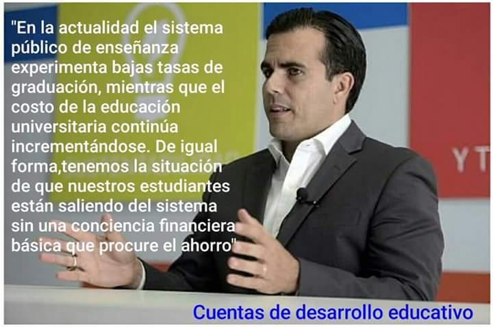 Rosselló propone Cuenta de Desarrollo Educativo y atender deserciónescolar